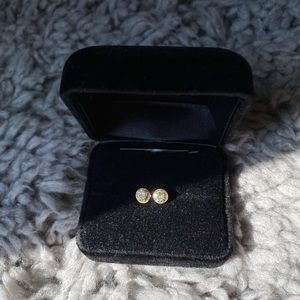 Francescas Silver stud with gold outline earrings